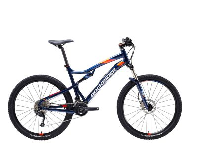 "Rockrider Mountainbike full suspension st 540 s 27.5"" 2x9 speed microshift/shimano blauw XL : 185 - 200 cm"